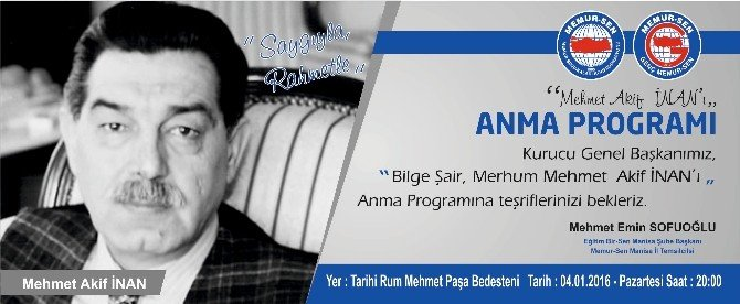 Mehmet Akif İnan Manisa'da Anılacak