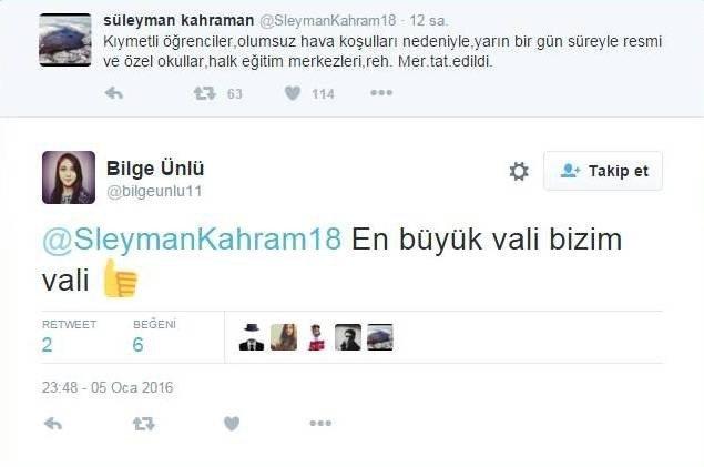 Öğrenciler Okullarını Tatil Eden Vali Kahraman'a Twitter Hesabından Övgü Yağdırdı