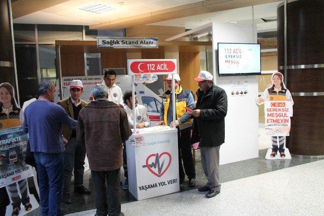 112 Acil Sağlık Ekipleri Hastanede Stant Açtı