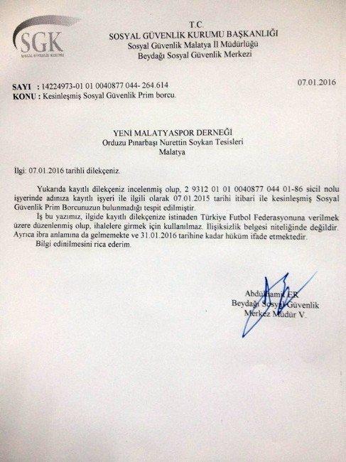 Alima Yeni Malatyaspor Borçsuz Yapısıyla Örnek Teşkil Ediyor