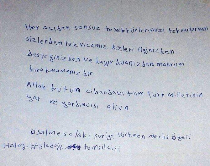 Suriyeli Türkmenlerden Teşekkür Mektubu