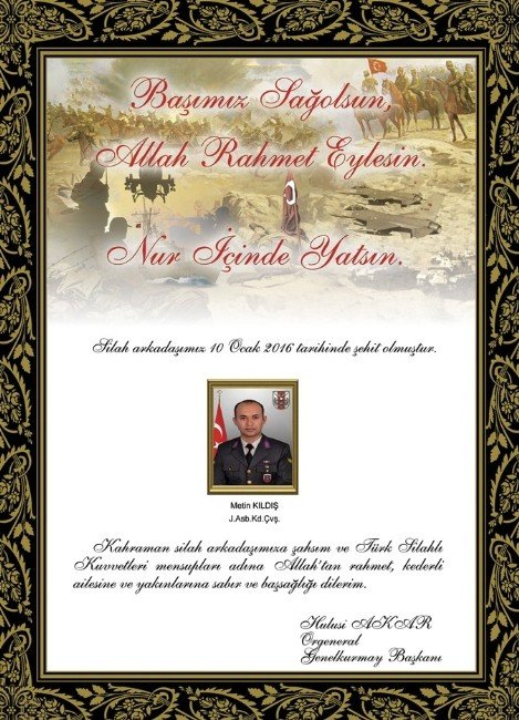 Genelkurmay Başkanı Orgeneral Akar'dan Şehit Astsubay Kıldış Ve Şehit Uzman Çavuş Ayyıldız İçin Taziye Mesajı