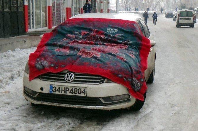 Araçlara Battaniyeli Ve Brandalı Önlem