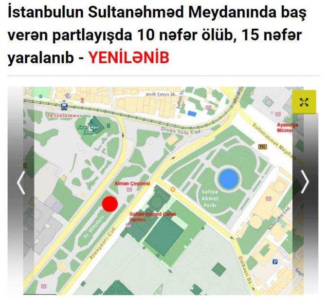 İstanbul'daki patlama Azerbaycan basınında