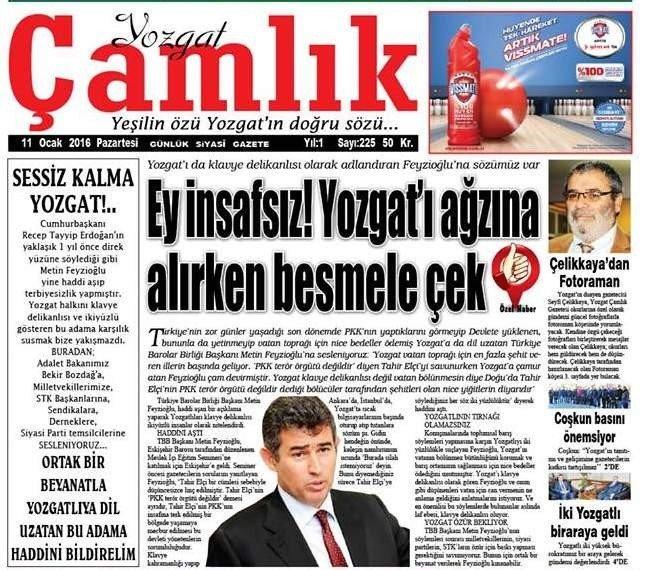 """Yozgat Sivil Toplum Kuruluş Temsilcilerinden Türkiye Barolar Birliği Başkanı Feyzioğlu'na Tepki """"Feyzioğlu, Önce PKK'ya Terör Örgütü Desin"""""""