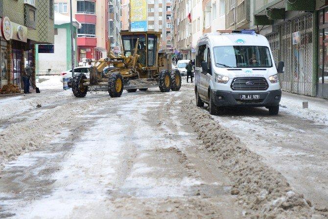 Yakutiye Belediyesi'nden Kar Çalışması