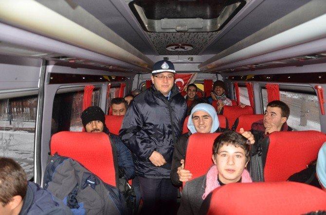 Ereğli'de Zabıtadan Okul Servis Araçlarına Denetim