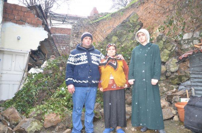 Heyelanda mahsur kalan gazi ve ailesi, evsiz kaldı