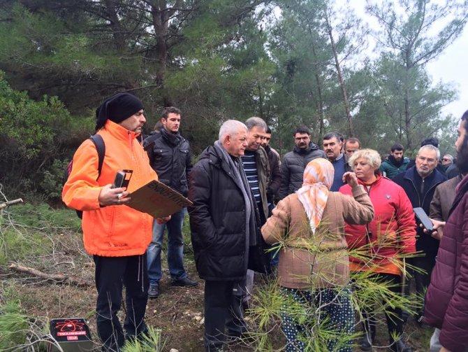 CHP'liler ağaç katliamı yapılan Ovacık'a gitti, kesim durdu