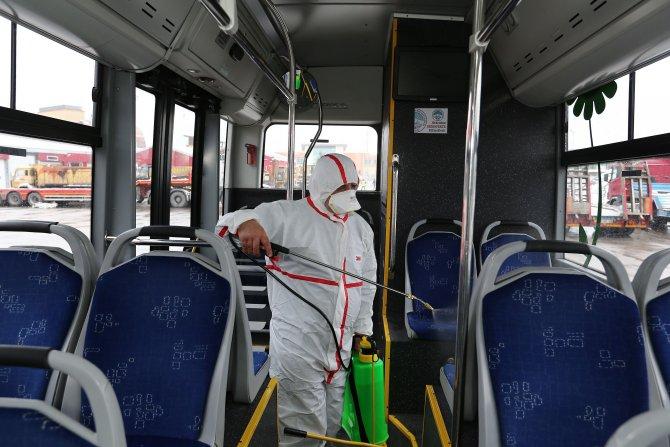 Şehir içi yolcu taşıma araçlarında dezenfekte çalışması yapıldı