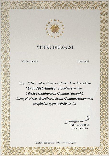 EXPO 2016 Antalya Projesi, Cumhurbaşkanlığı Himayesine Alındı