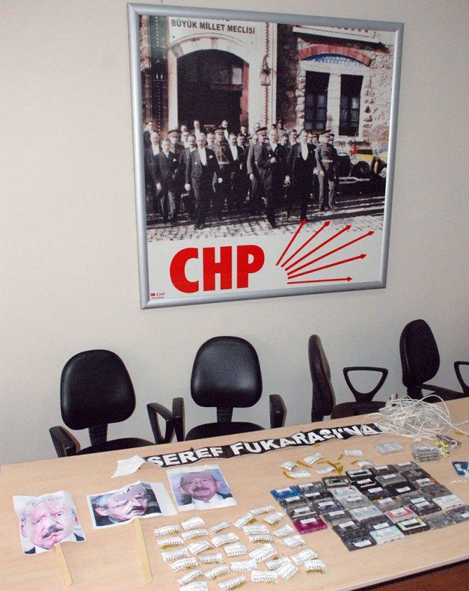CHP il binası önüne gece yarısı kaset bıraktılar