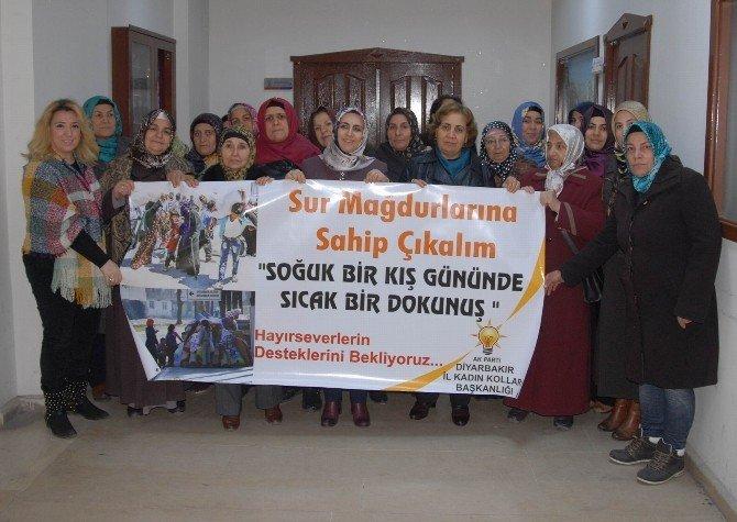 AK Parti'li Kadınlardan Sur'dan Göç Eden Ailelere Yardım Kampanyası