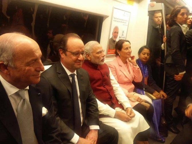 Hindistan Başbakanı Modi, Fransa Cumhurbaşkanı ile metro yolcuğu yaptı