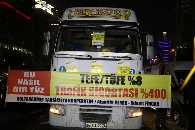 Taksicilerden 'zorunlu trafik sigortası' eylemi