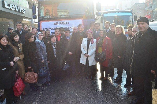 AK Parti İl Başkanlığı Tarafından Bayır-bucak Türkmenlerine Yardım Tır'ı Gönderildi