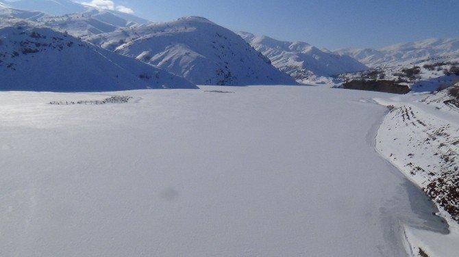 Erzincan Baraj Gölü Buz Tuttu
