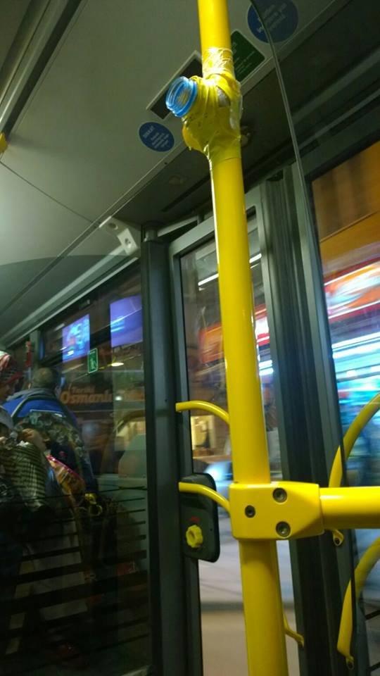 Otobüsün inme butonuna pet şişeli önlem