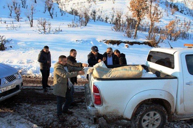 Çatak'ta Yaban Hayvanlarına Yem Bırakıldı