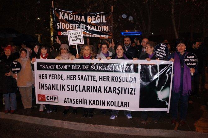 CHP'li kadınlar, kadına yönelik şiddeti protesto etti