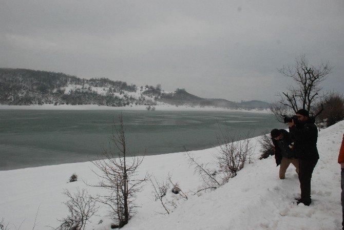 Tokat'ta Üçoluk Göleti Buz Tuttu