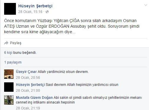 Şehit Hüseyin Şerbetçi'nin Duygulandıran Mesajı