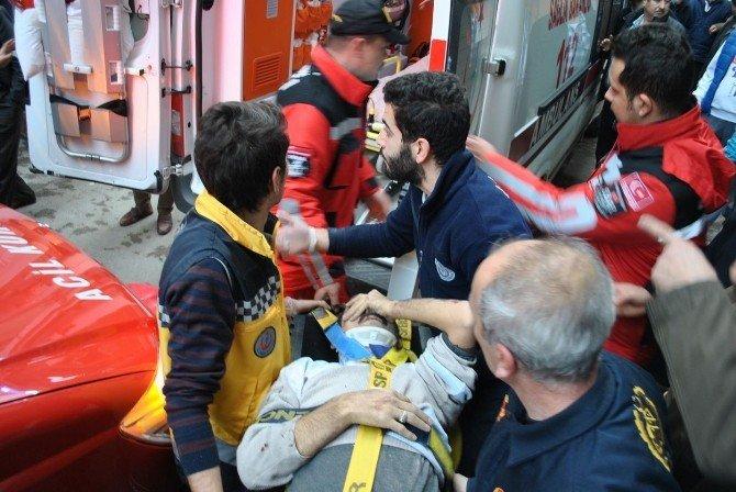 Çanak Anten Takarken 5. Kattan Asansör Boşluğuna Düşen Elektrikçi Duvar Kırılarak Kurtarıldı