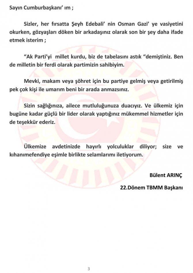 Arınç'tan Erdoğan'a: Nefsinize uyarak, tahrik ile hareket etmeyin