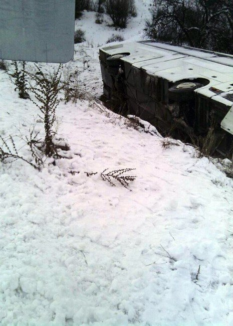 Malatya'da Yolcu Otobüsü Devrildi