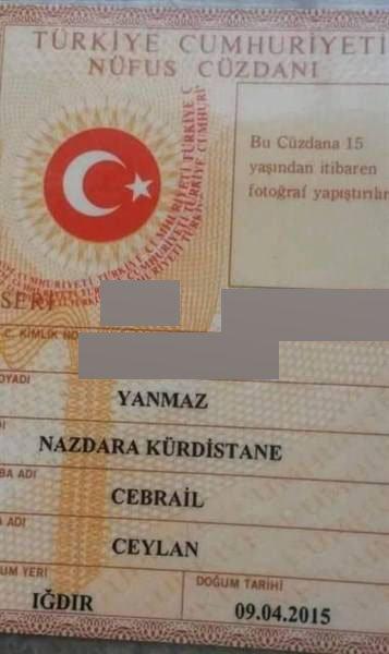 Iğdır'da 2 baba çocuklarına Kürdistane ve Gerilla isimlerini verdi