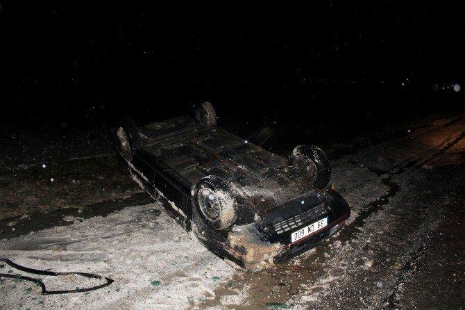Takla Atan Aracın Sürücüsü Kazayı Ucuz Atlattı