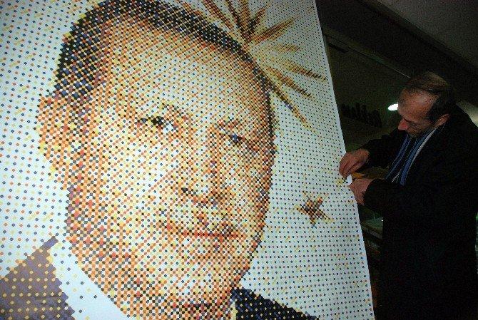 41 Bin Raptiye İle Cumhurbaşkanı Erdoğan'ın Tablosunu Yapacak