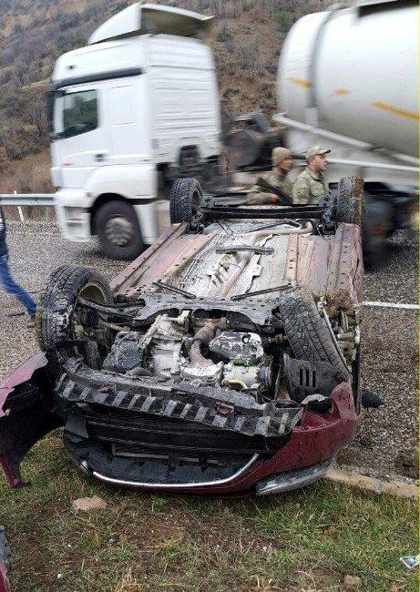 Takla Atan Otomobilden Burnu Bile Kanamadan Çıktı