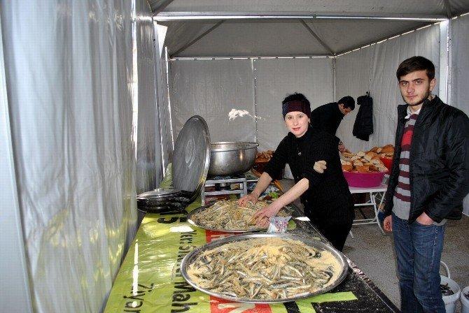 Mudanya Karadenizliler Festivali'nde 1 Ton Hamsi Dağıtıldı