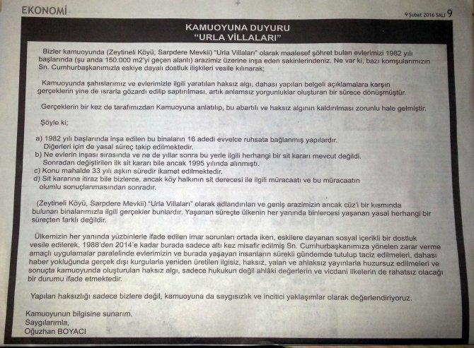 Urla villalarının sahiplerinden biri rahatsızlıklarını gazete ilanıyla anlattı