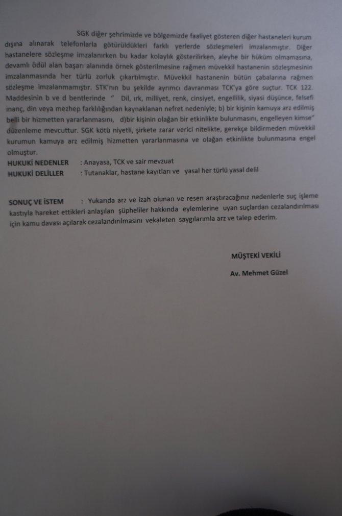 Şifa Hastanesi SGK hakkında suç duyurusunda bulundu