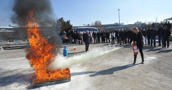 """AŞTİ Personeline """"Yangın Söndürme"""" Tatbikatı"""