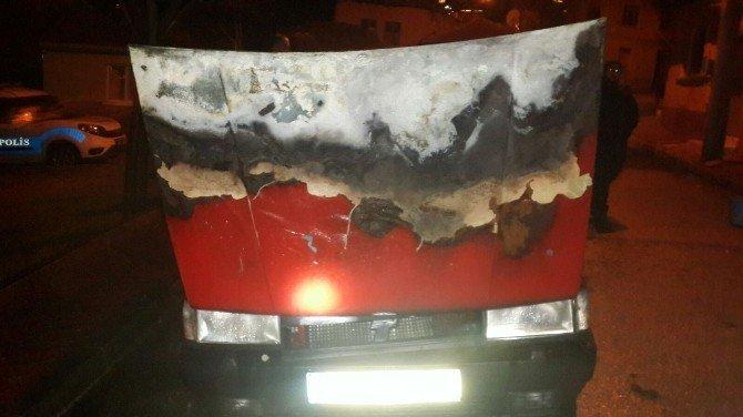 Park Halindeyken Yanan Otomobil Hurdaya Döndü