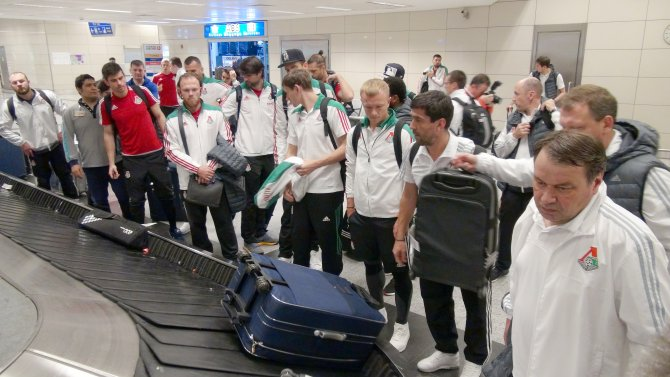Lokomotiv Moskova için havalimanında polis koridoru