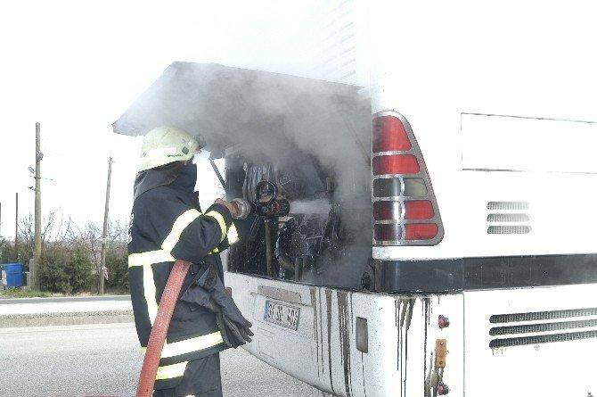 Tekirdağ'da Yolcu Otobüsü Yandı