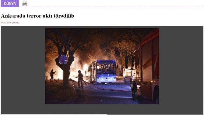 Ankara'daki patlama Azerbaycan basınında