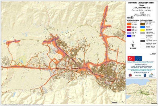 Bursa'nın gürültü haritası tamamlandı