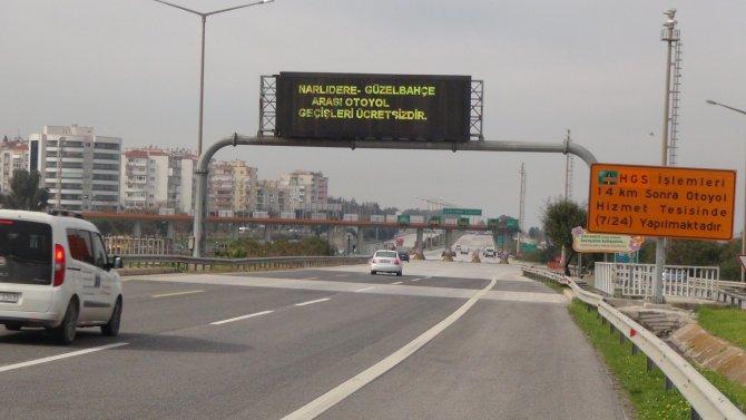 İzmir-Çeşme otoyolu Güzelbahçe'ye kadar ücretsiz