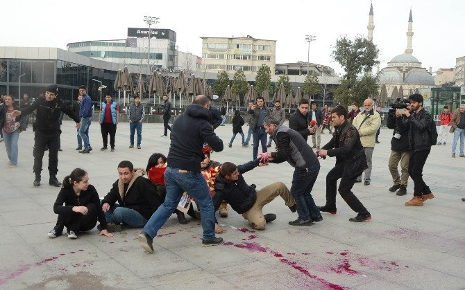 Polise Boya Fırlatan Göstericilere Müdahale: 7 Gözaltı