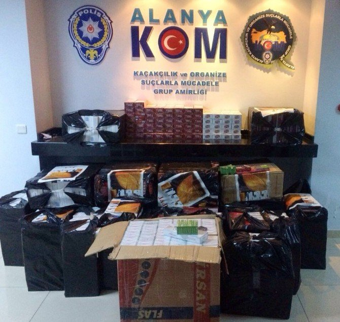 Alanya'da 18 Bin 740 Paket Kaçak Sigara Ele Geçirildi