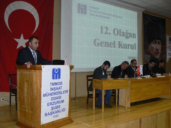 İnşaat Mühendisleri Odası Erzurum Şubesi 12. Dönem Genel Kurulunu Yaptı