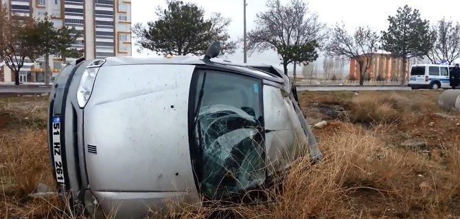 Bor'da takla atan aracın kadın sürücüsü yaralandı