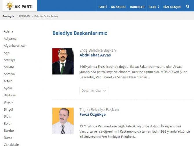 AK Parti resmi internet sitesi, DBP'li belediyeye kendi başkanını atadı