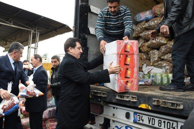 Şanlıurfa'dan Azez Ve Halep'e 2 Tır Yardım Malzemesi Gönderildi