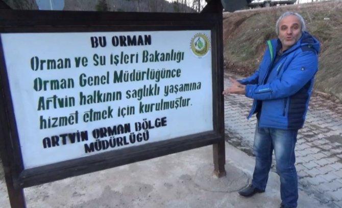 'Dünyanın en ironik orman tabelası Cerattepe'de'